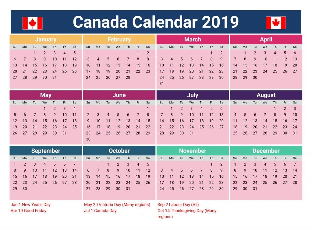 Printable Holiday Calendar Canada Holidays 2019 Calendar Download
