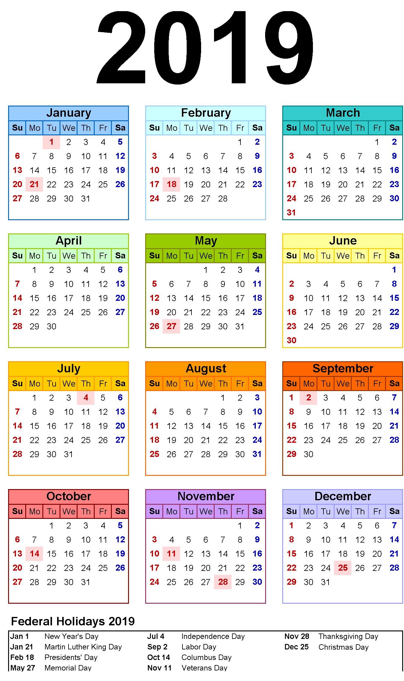 Free Printable Calendar 2019 Template with USA Holidays