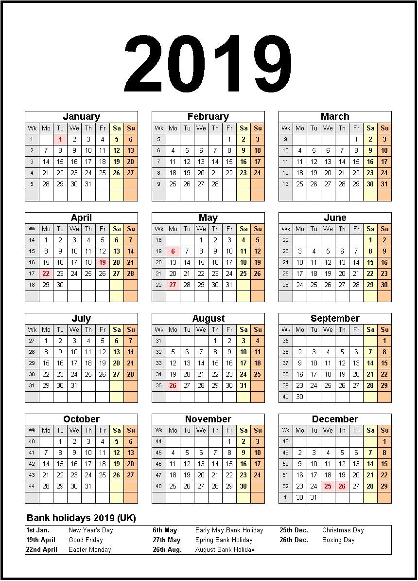 Printable Calendar 2019 United States Holidays