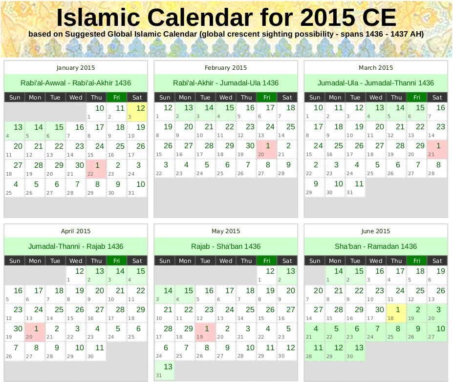 Printable islamic Calendar Hijri Calendar 1437