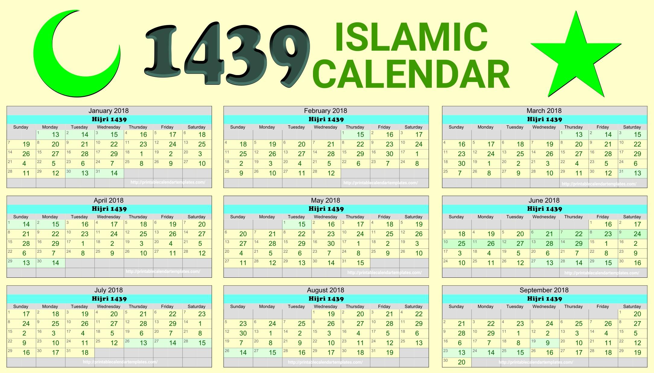 Islamic Calendar 2018 Hijri Calendar 1439