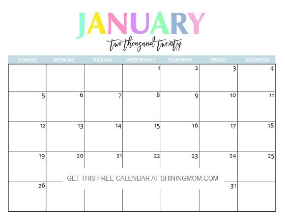 Printable January Calendars 2020