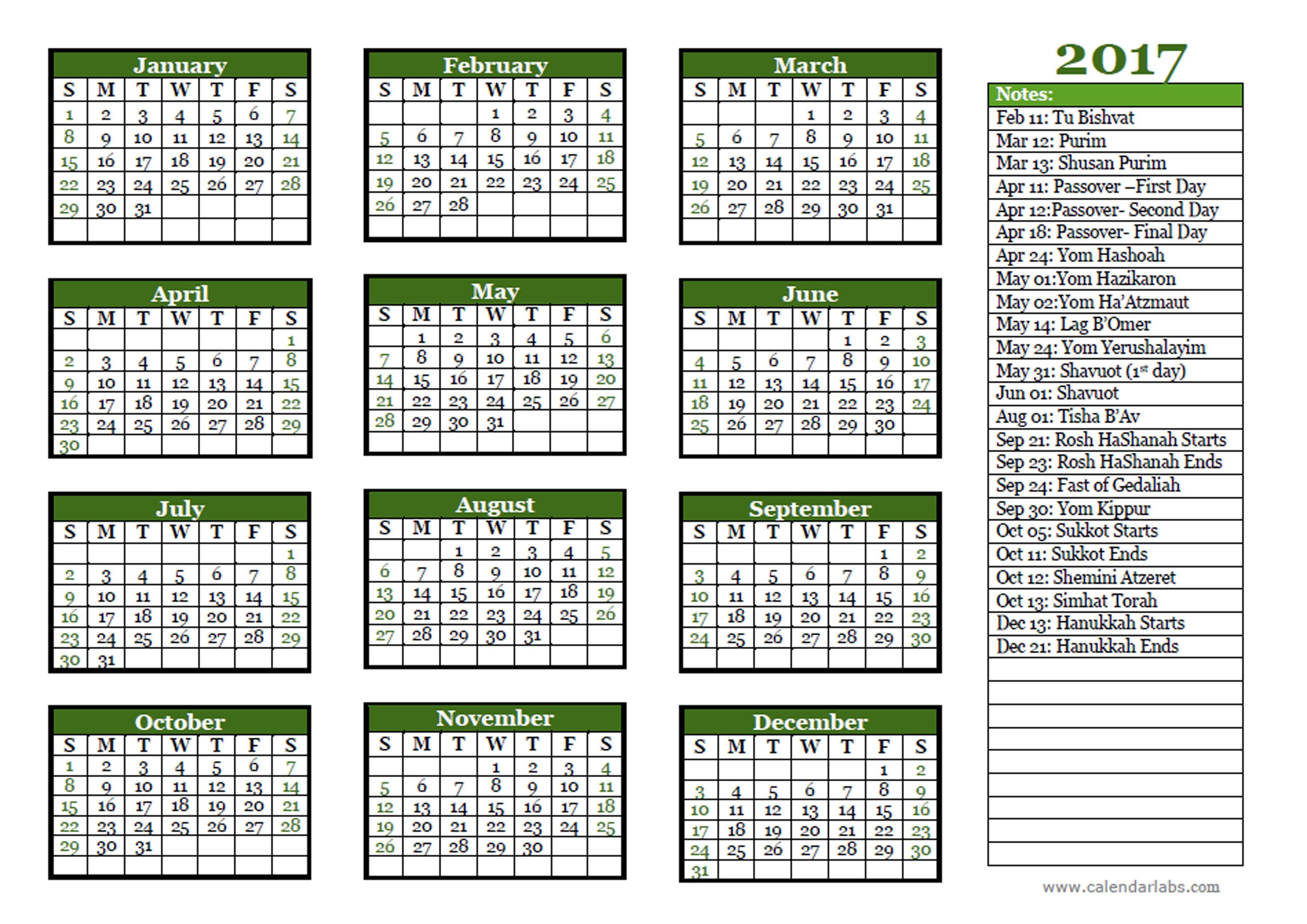 2017 Jewish Festivals Calendar Template Free Printable