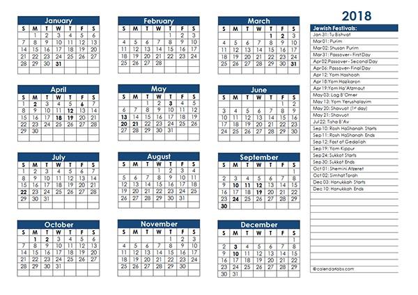 2018 Jewish Festivals Calendar Template Free Printable