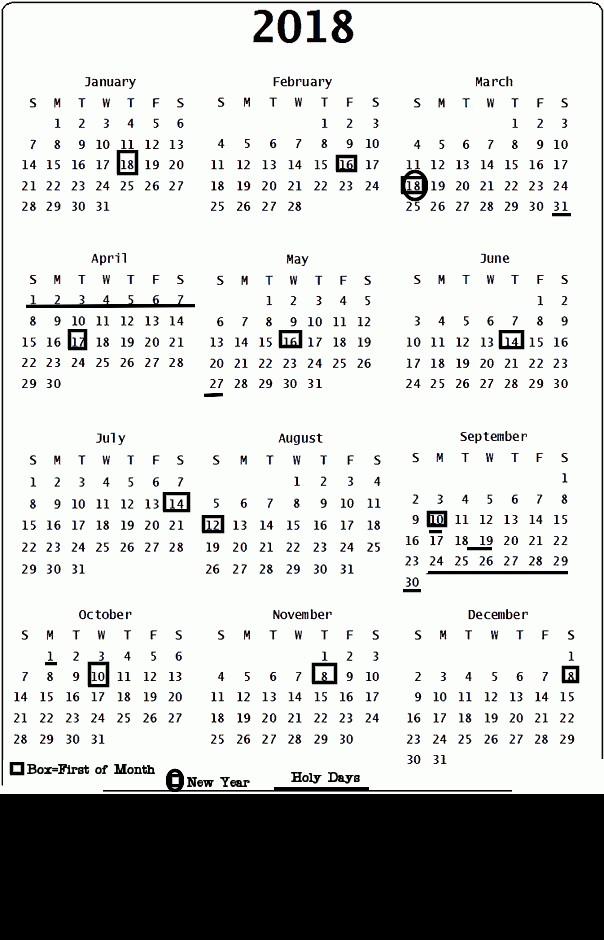 Printable Jewish Calendar Jewish Calendar 2018