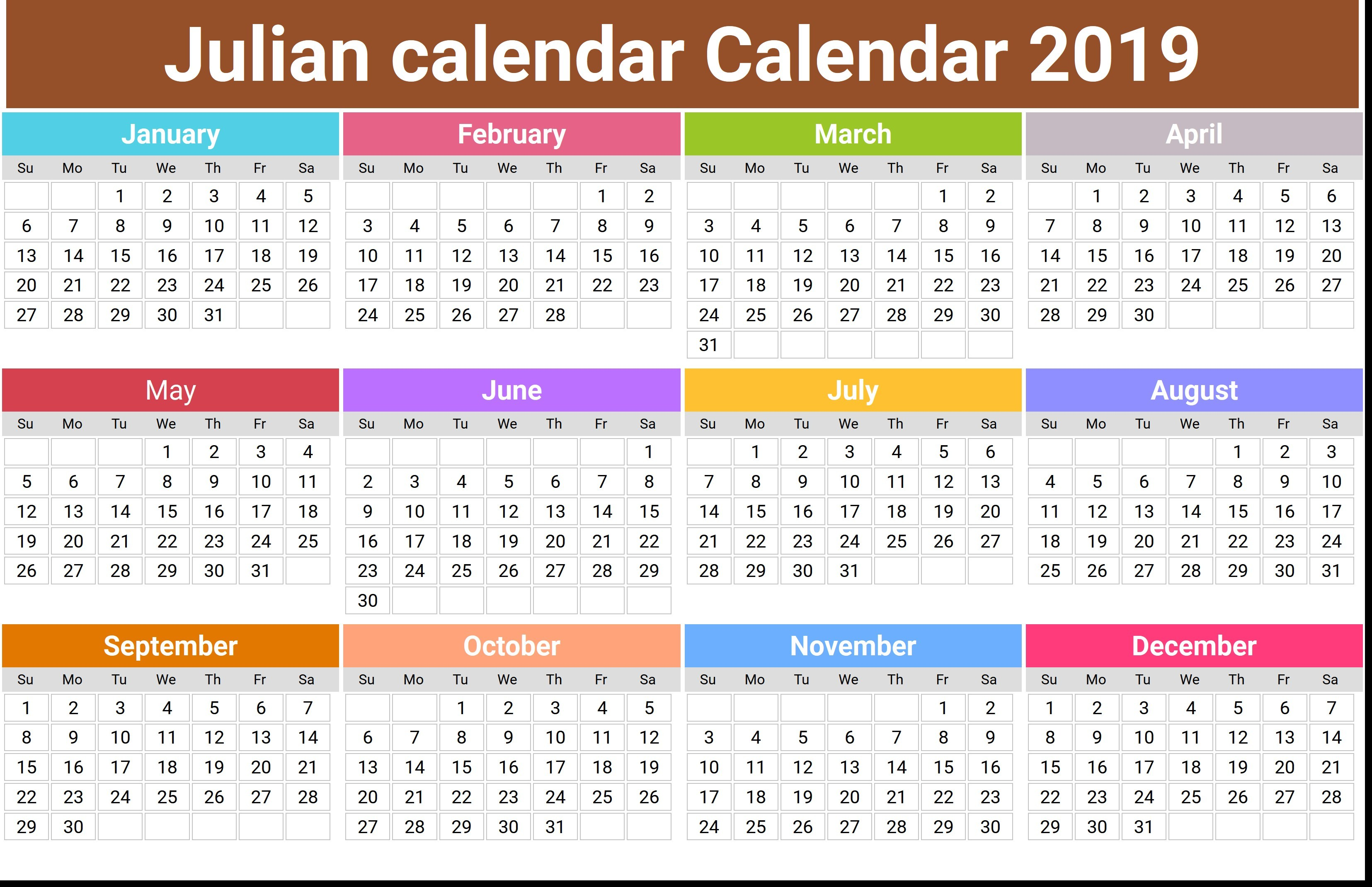 Printable Julian Calendar 2019 Julian Date Calendar Printable Annual Julian Calendar