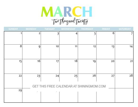 Printable March 2020 Calendar Free Printable 2020 Calendar so Beautiful & Colorful