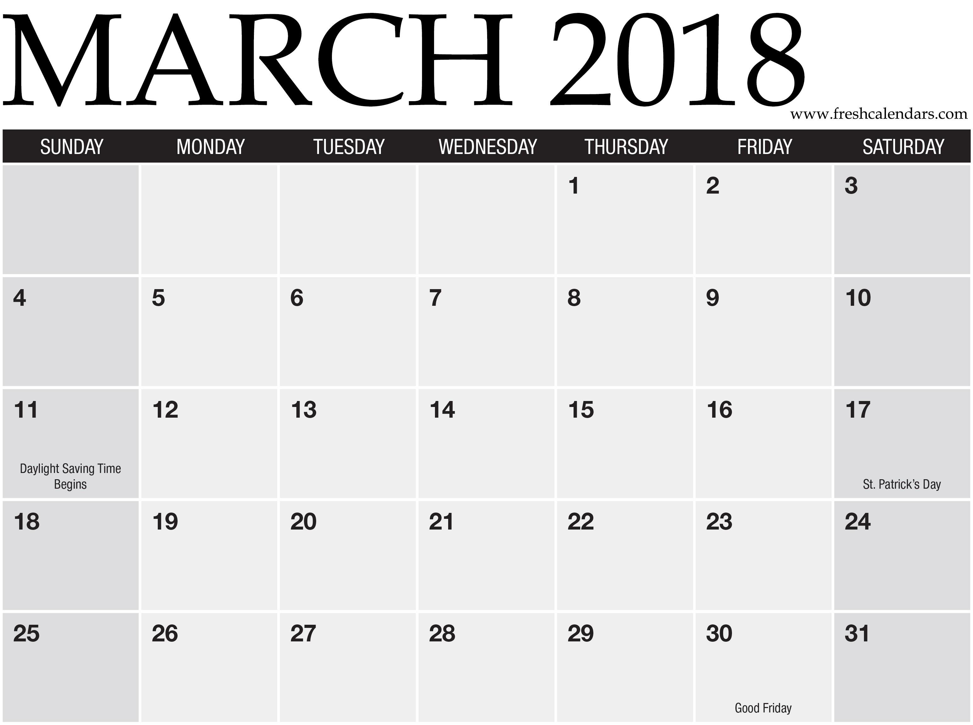 Printable March Calendar Printable March 2018 Calendar Fresh Calendars