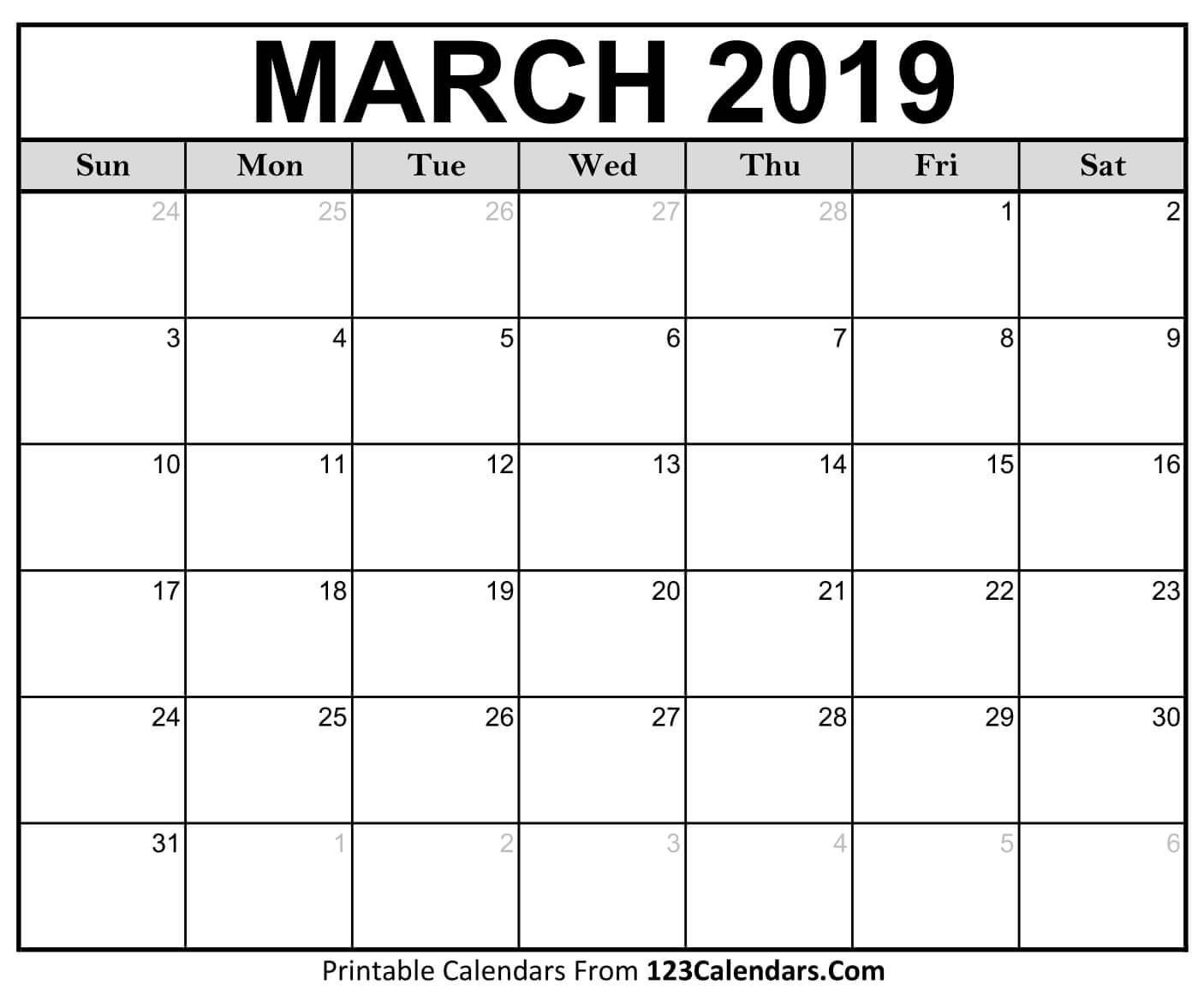 Printable March 2018 Calendar Templates 123Calendars