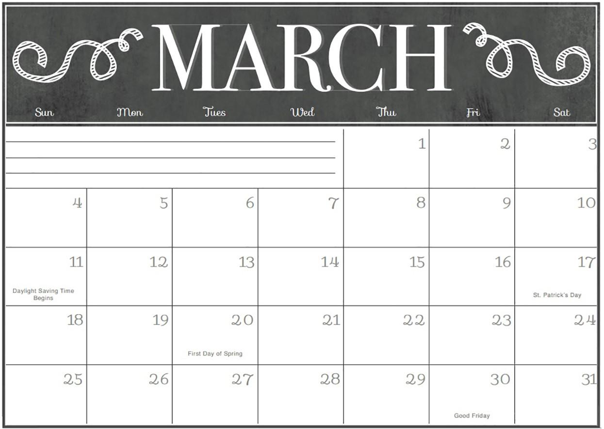 Printable March Calendar Printable March 2018 Template