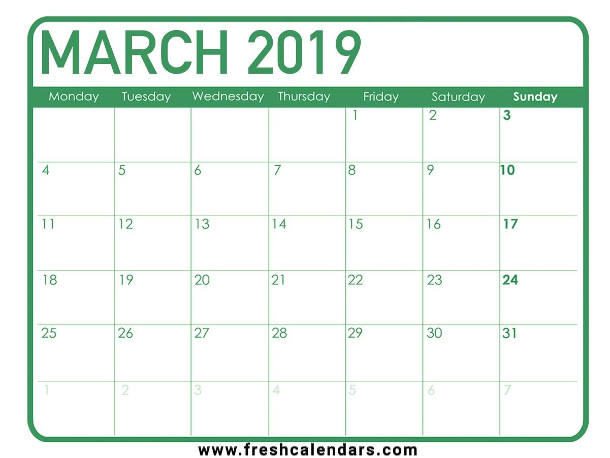 Printable March Calendar Printable March 2019 Calendar Fresh Calendars