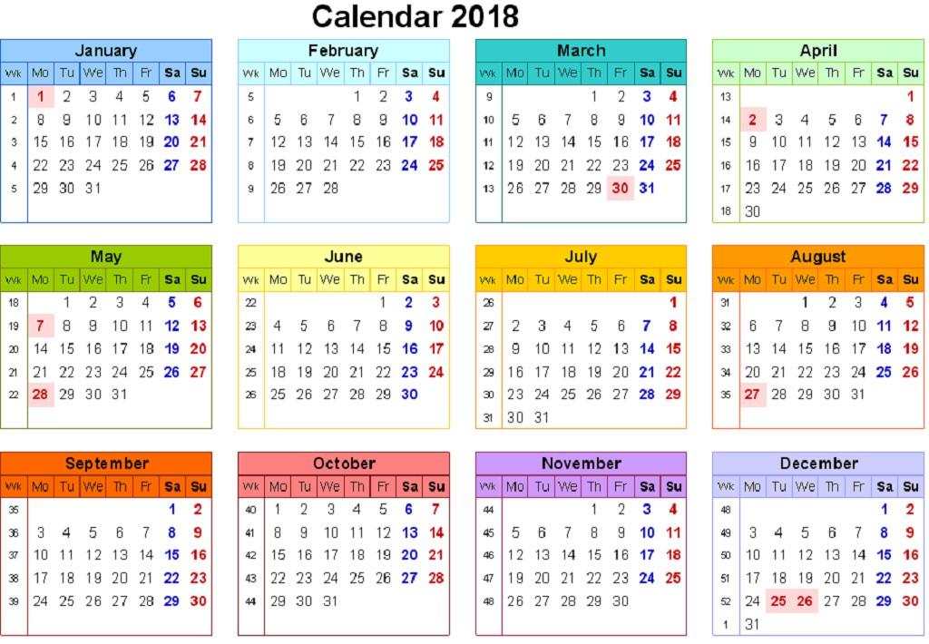 Printable One Month Calendar 12 Month Calendar 2018 On E Page Twelve Month Printable
