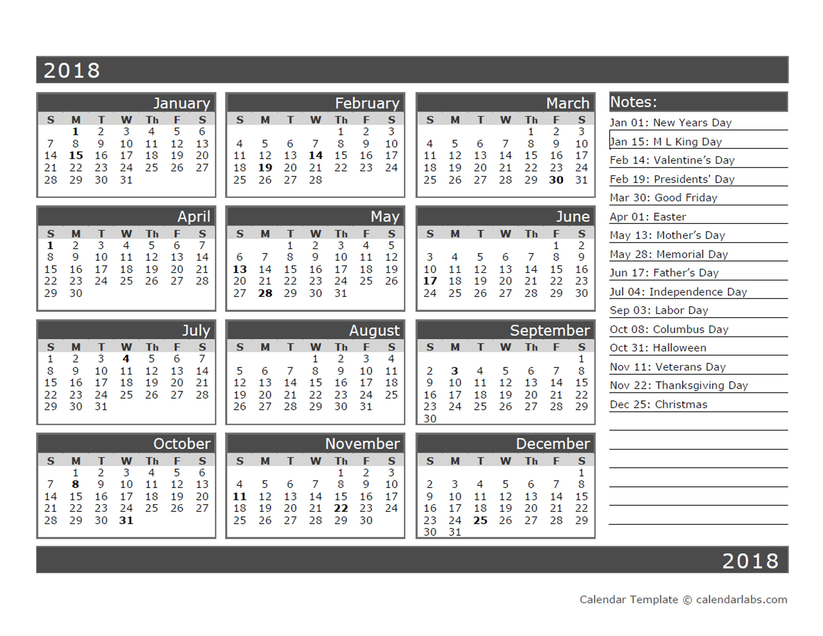 Printable One Month Calendar 12 Month E Page Calendar Template for 2018 Free