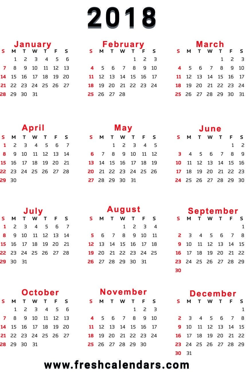 12 month printable calendar 2018 one page – Template