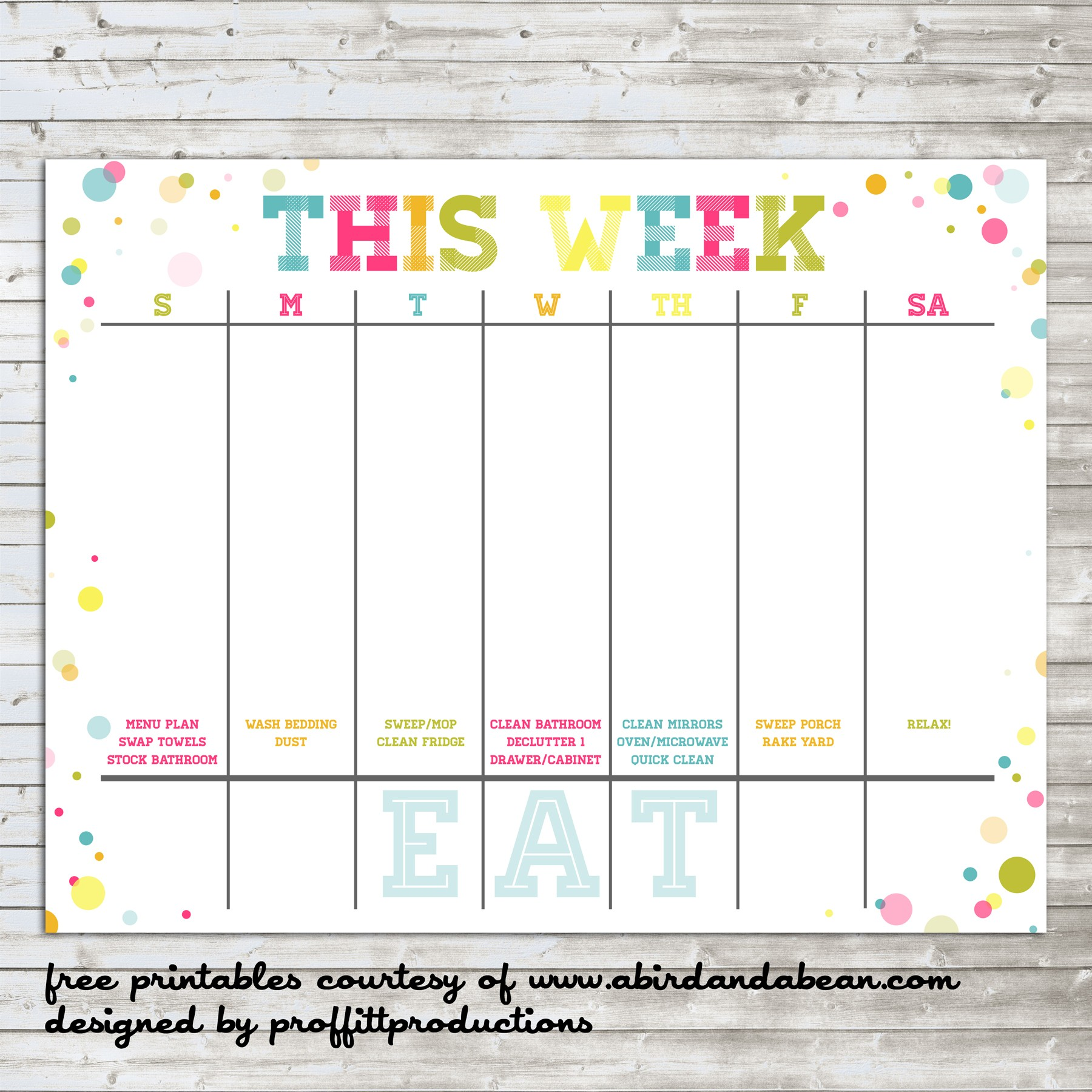 Printable One Week Calendar