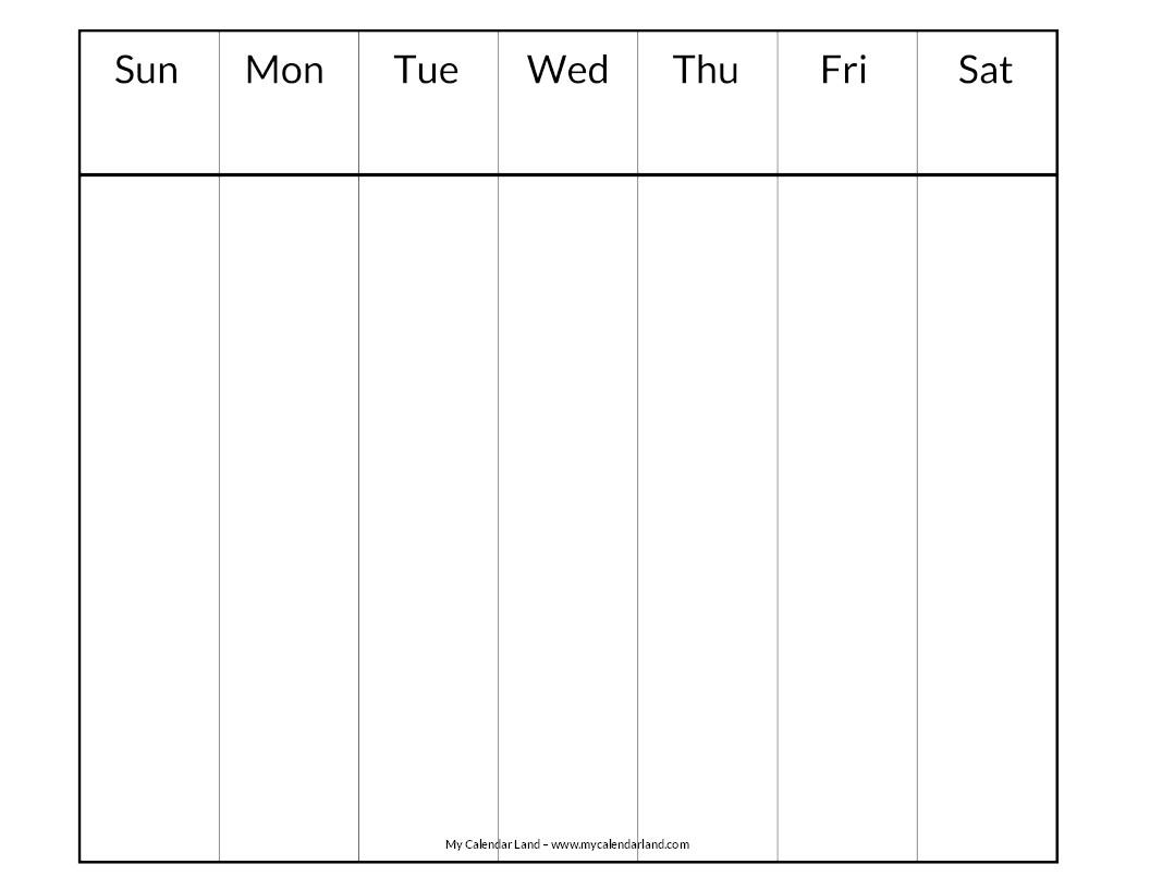 Printable One Week Calendar Blank Calendar Printable My Calendar Land