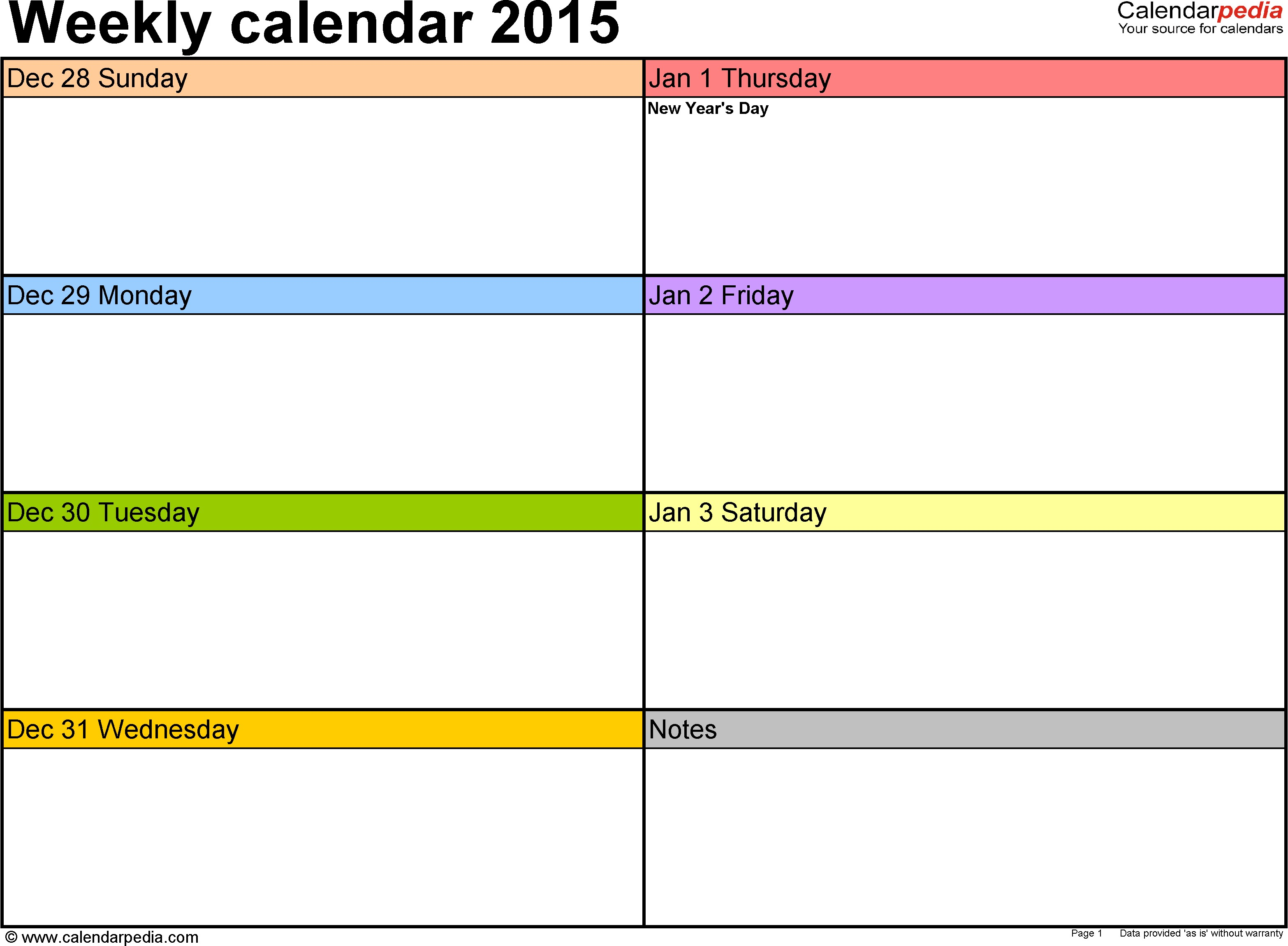 Printable One Week Calendar Weekly Calendar 2015 for Pdf 12 Free Printable Templates