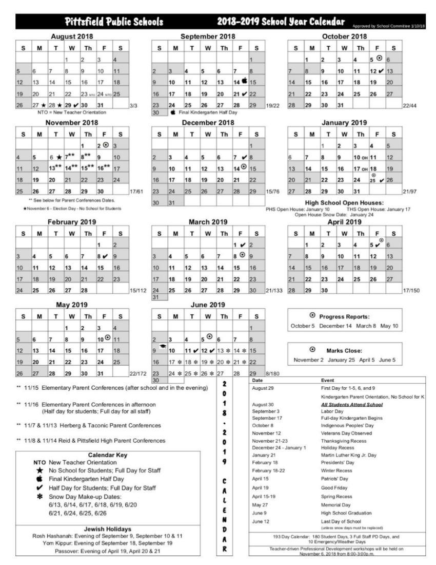 Printable School Calendar 2019-15 Pittsfield Schools Release 2018 19 Calendar