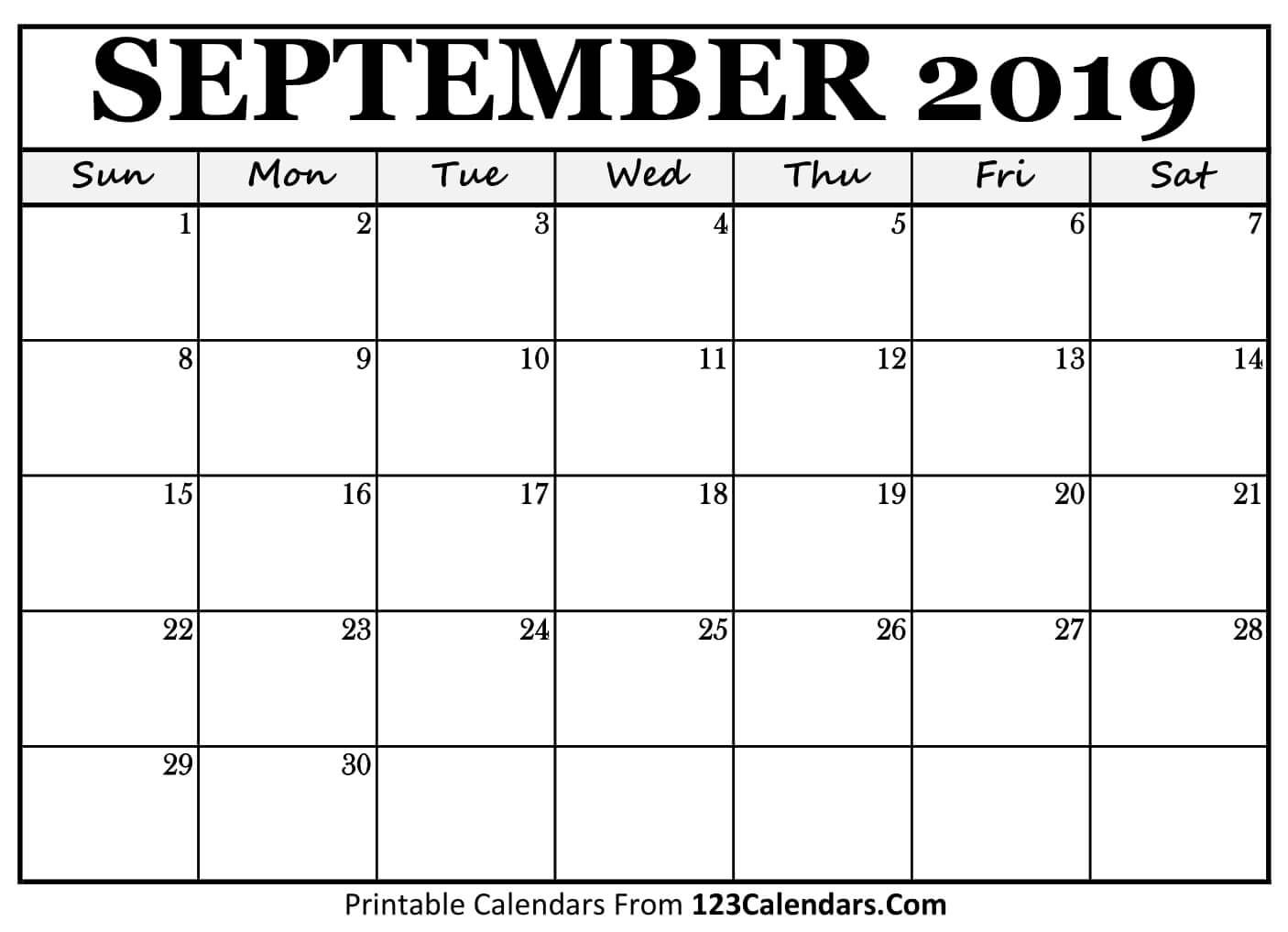 Printable Sept Calendar Printable September 2018 Calendar Templates 123calendars