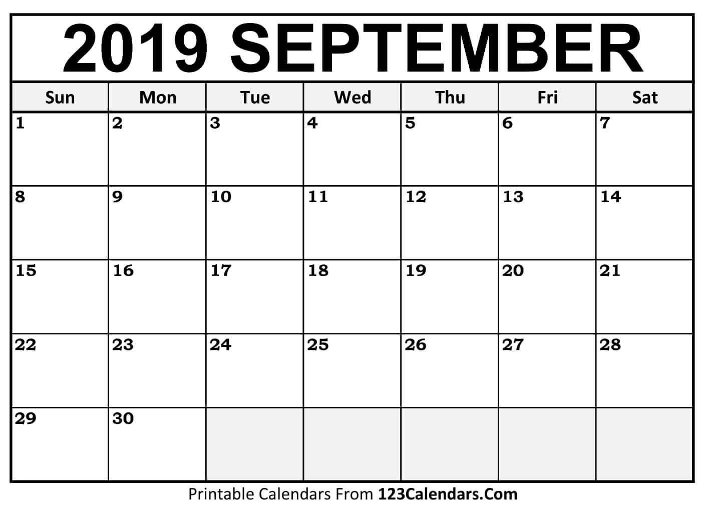 Printable September 2018 Calendar Templates 123Calendars