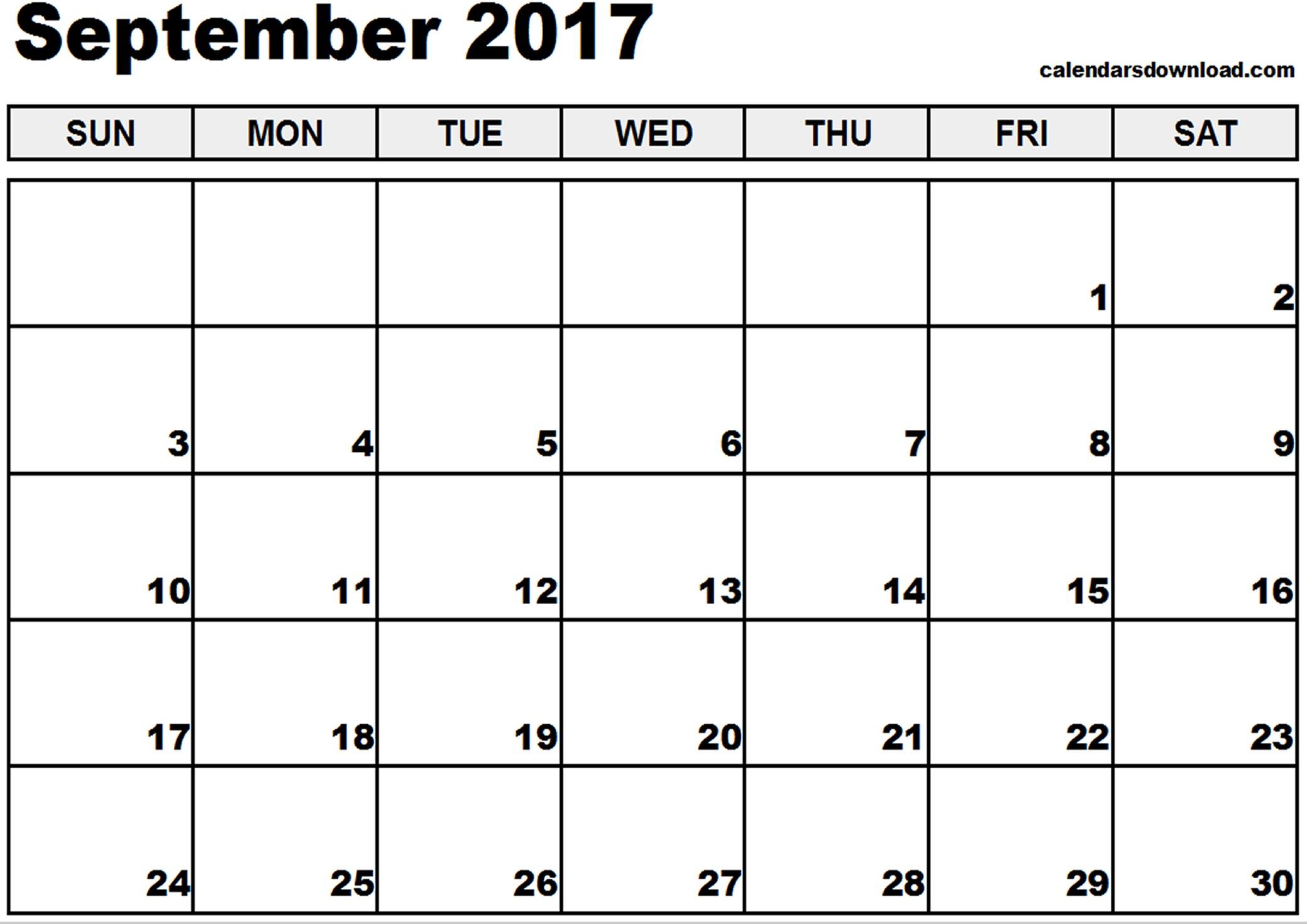 Printable Sept Calendar September 2017 Calendar Template