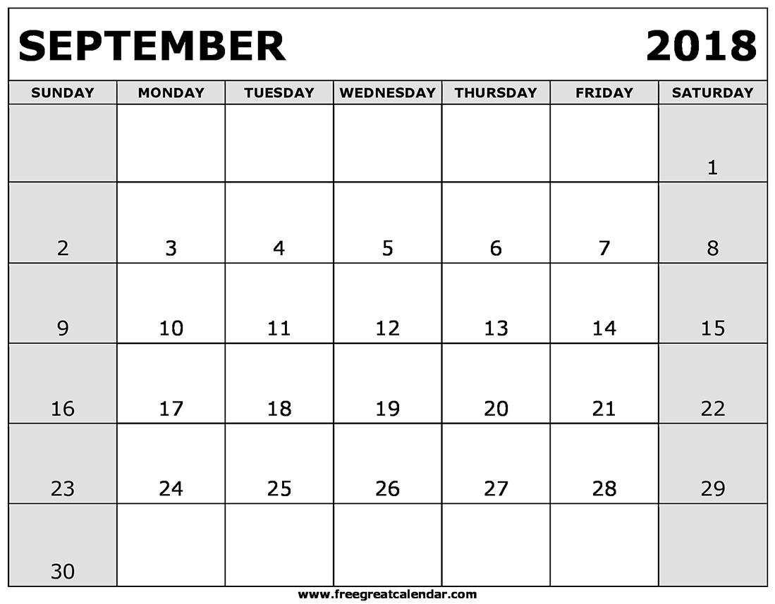Printable Sept Calendar September 2018 Calendar Pdf