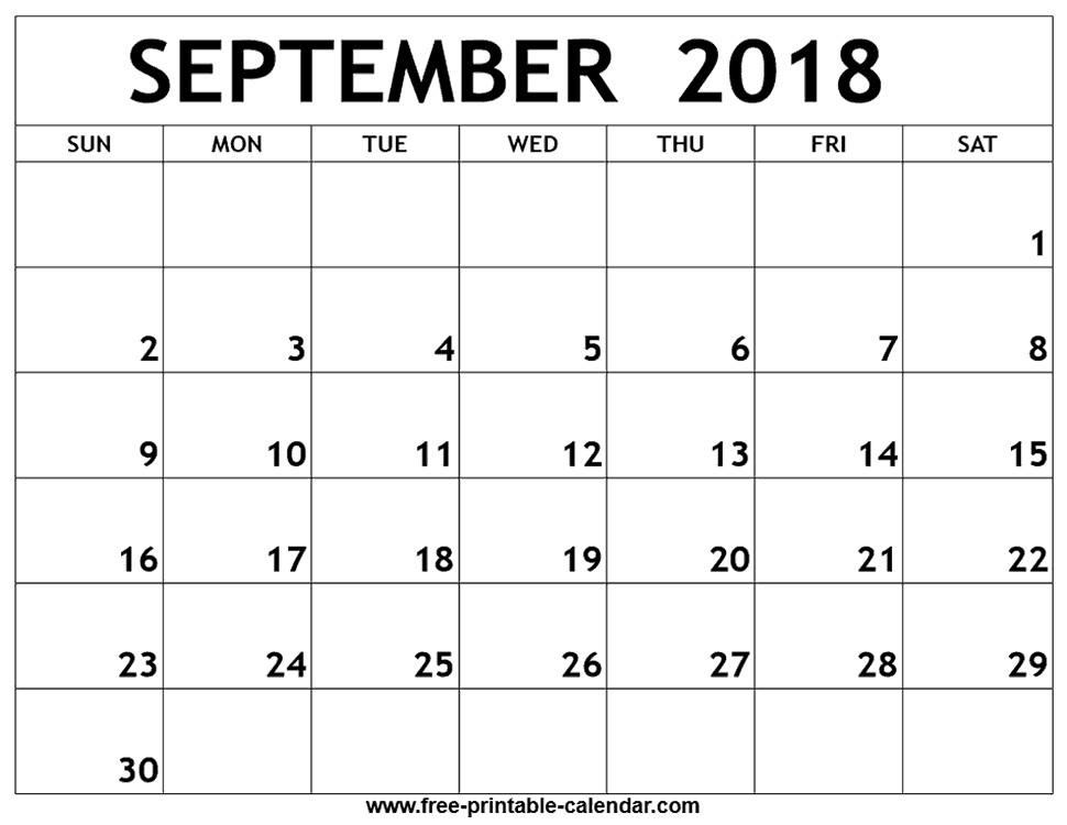 Printable Sept Calendar