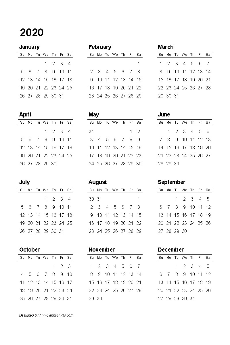 Printable Small Calendar 2020
