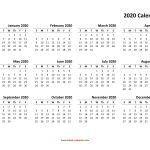 Printable Small Calendar 2020 Yearly Calendar 2020