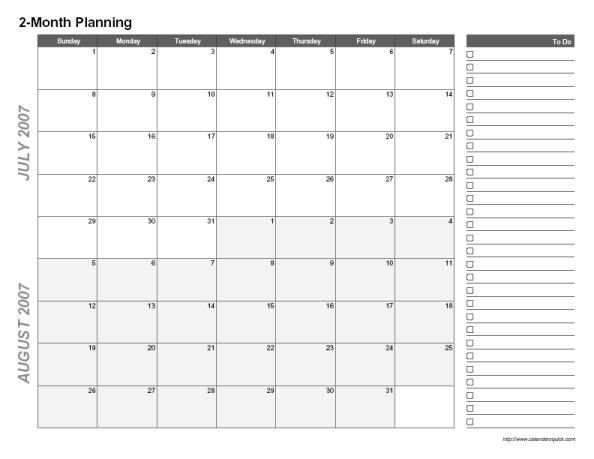 Printable Two Month Calendar Printable 2 Month Calendar Calendarsquick