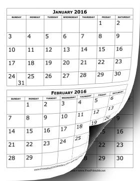 Printable Two Month Calendar Printable 2016 Calendar Two Months Per Page