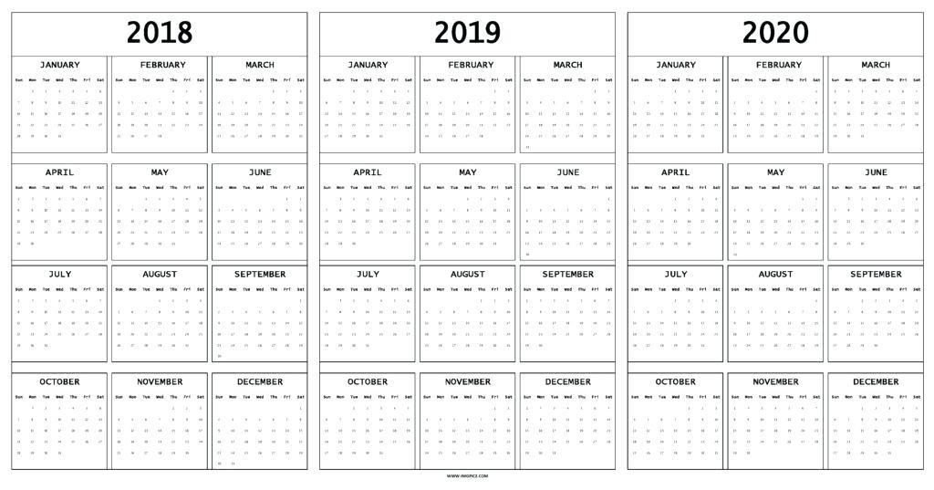 Printable Wall Calendar 2020 2020 Year Calendar Printable Color Wall Full Big Classic
