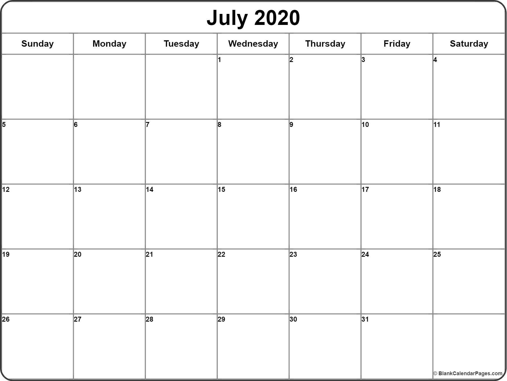 Printable Weekly Calendar 2020 July 2020 Calendar