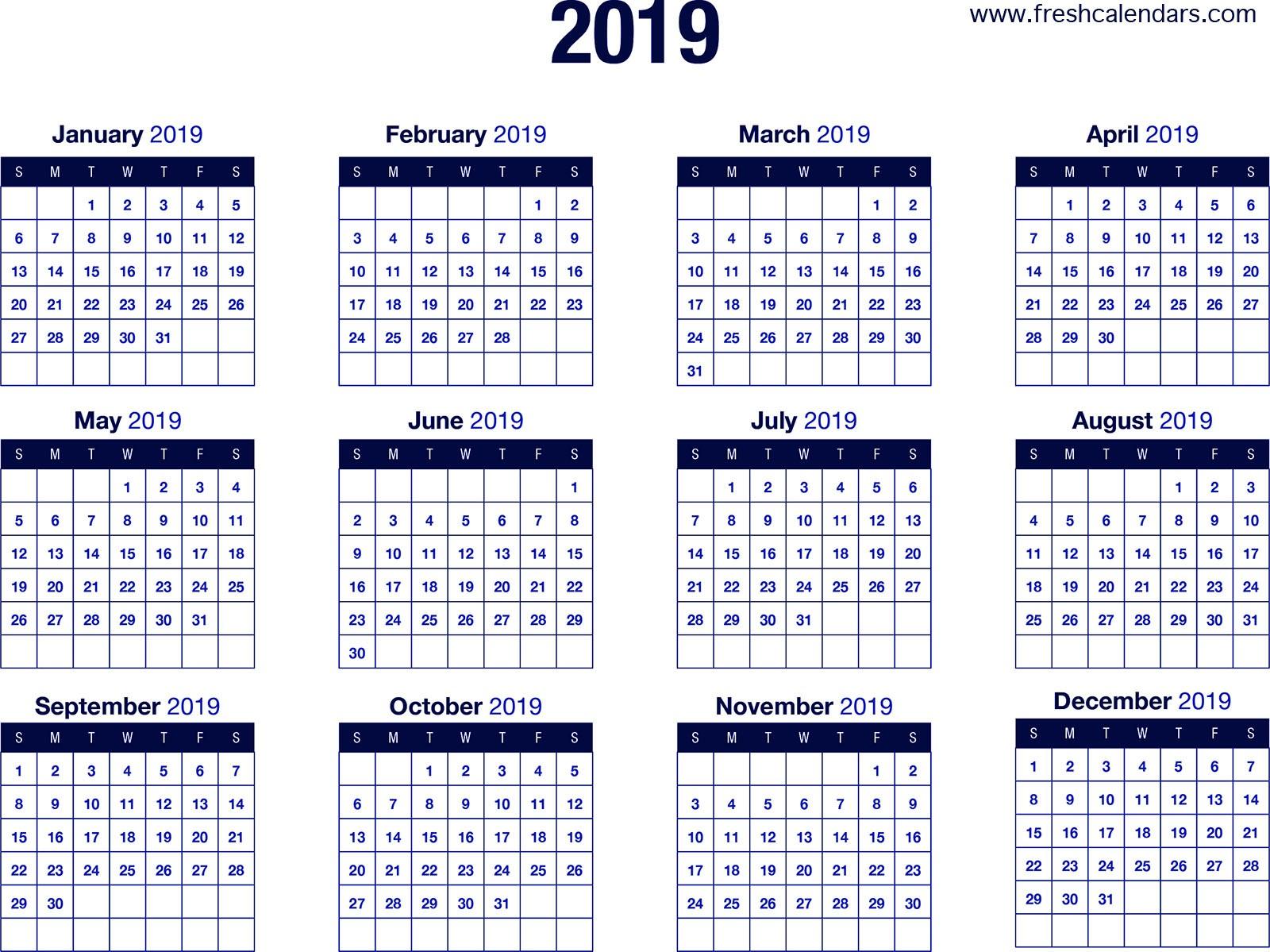Printable Yearly Calendars 2019 2019 Calendar