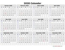 Small Printable 2020 Calendar