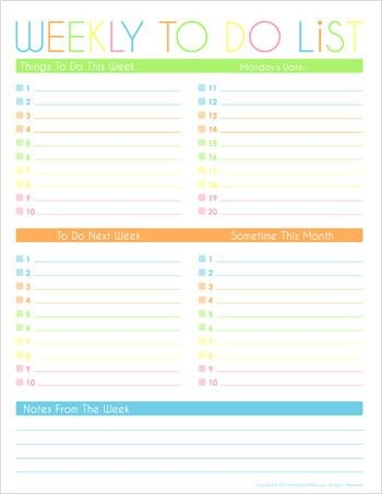 Monthly Calendar To Do List Template