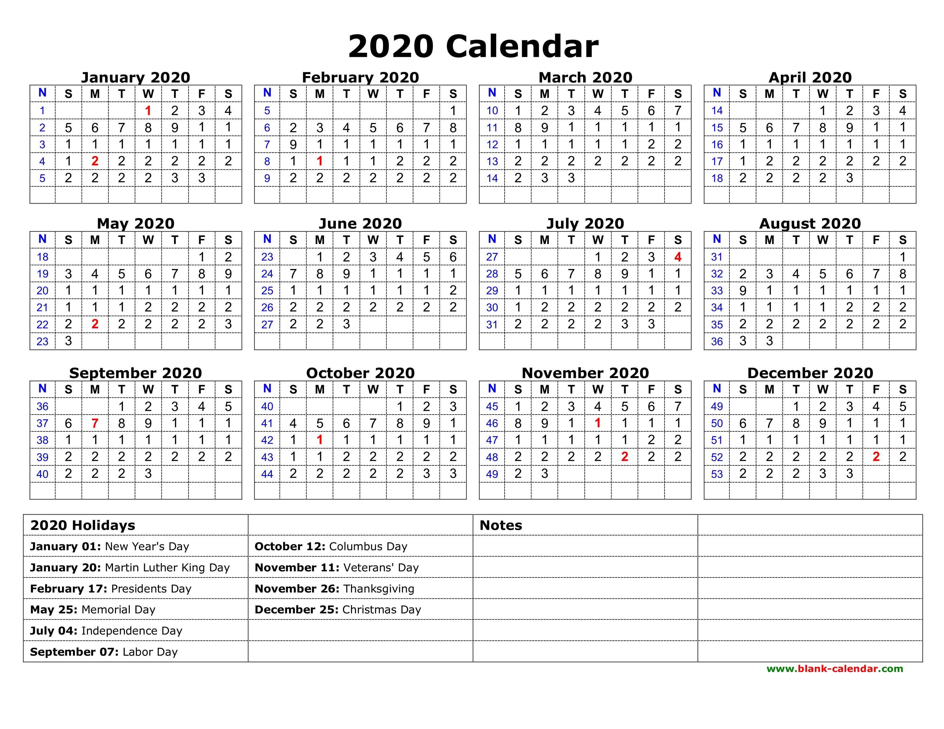 Weekly Calendar 2020 Printable Free Download Printable Calendar 2020 with Us Federal