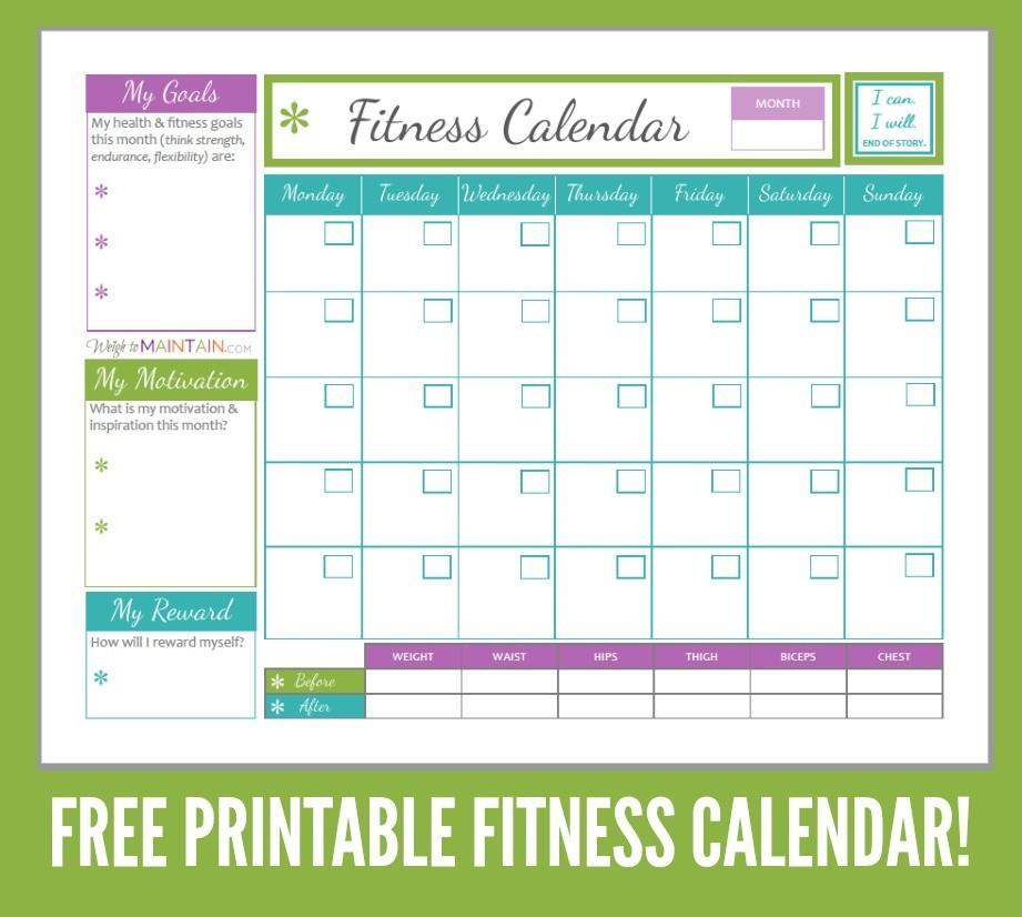 Printable Fitness Calendar Printable Weight Loss Calendar