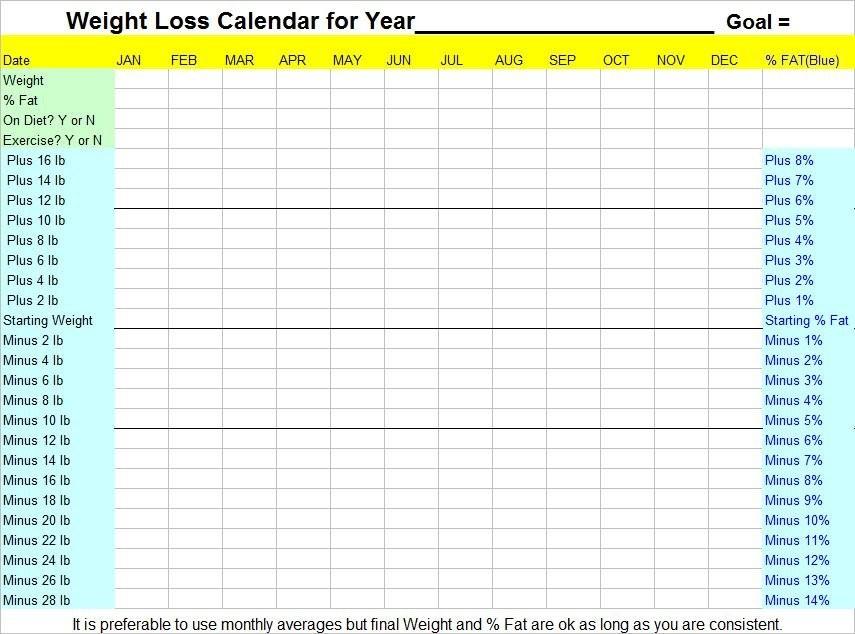 Weight Loss Calendar