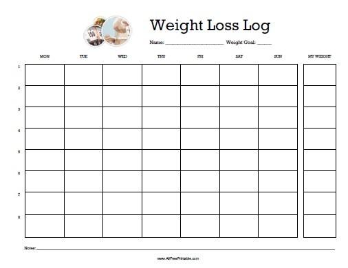 Weight Loss Calendar Printable Weight Loss Log Free Printable Allfreeprintable