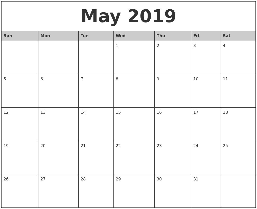 Word Printable Calendar 2019