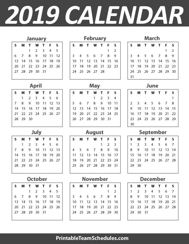 Year Calendar Printable 2019 2019 Yearly Calendar – Free Download