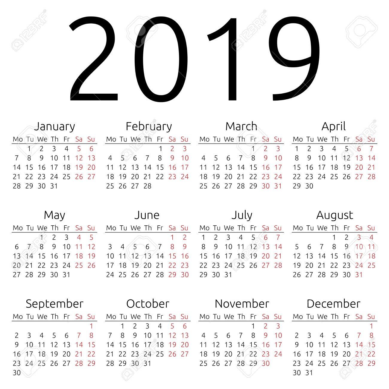 Year Calendar Printable 2019 Yearly Calendar 2019
