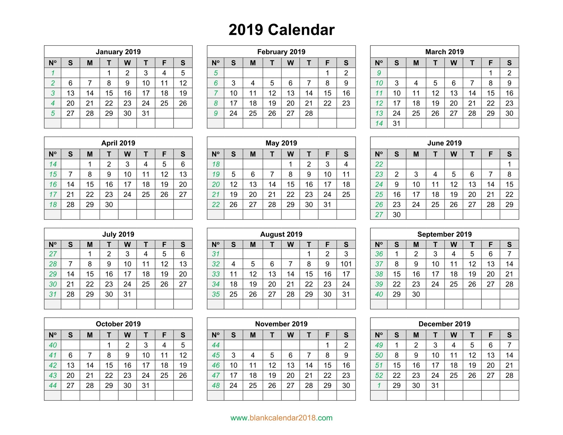 Yearly 2019 Printable Calendar Blank Calendar 2019