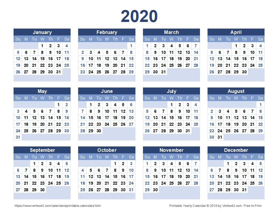 Yearly Calendar 2020 Printable 2020 Calendar Templates and