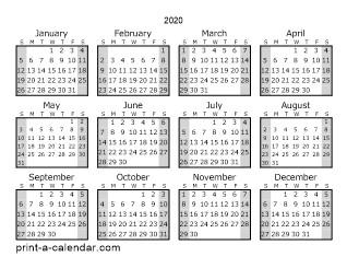 Yearly Calendar 2020 Printable Download 2020 Printable Calendars