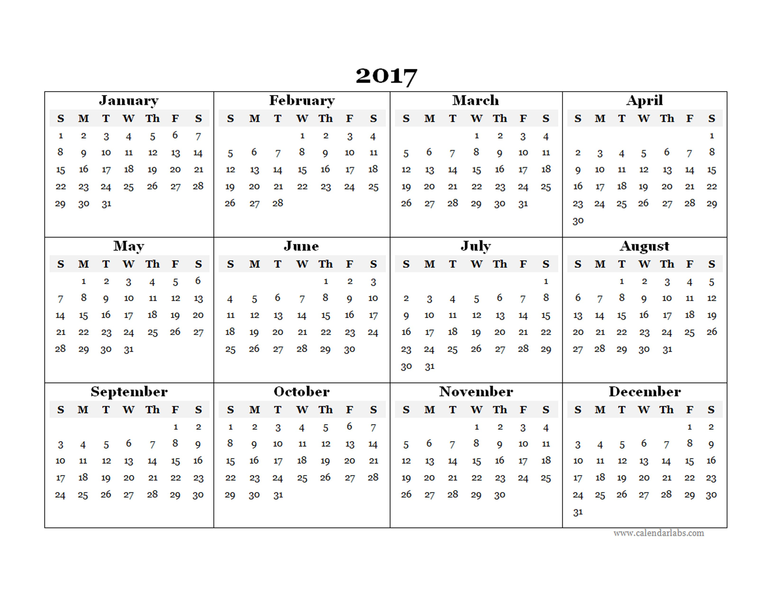 Yearly Printable Calendars 2017 Blank Yearly Calendar Template Free Printable Templates