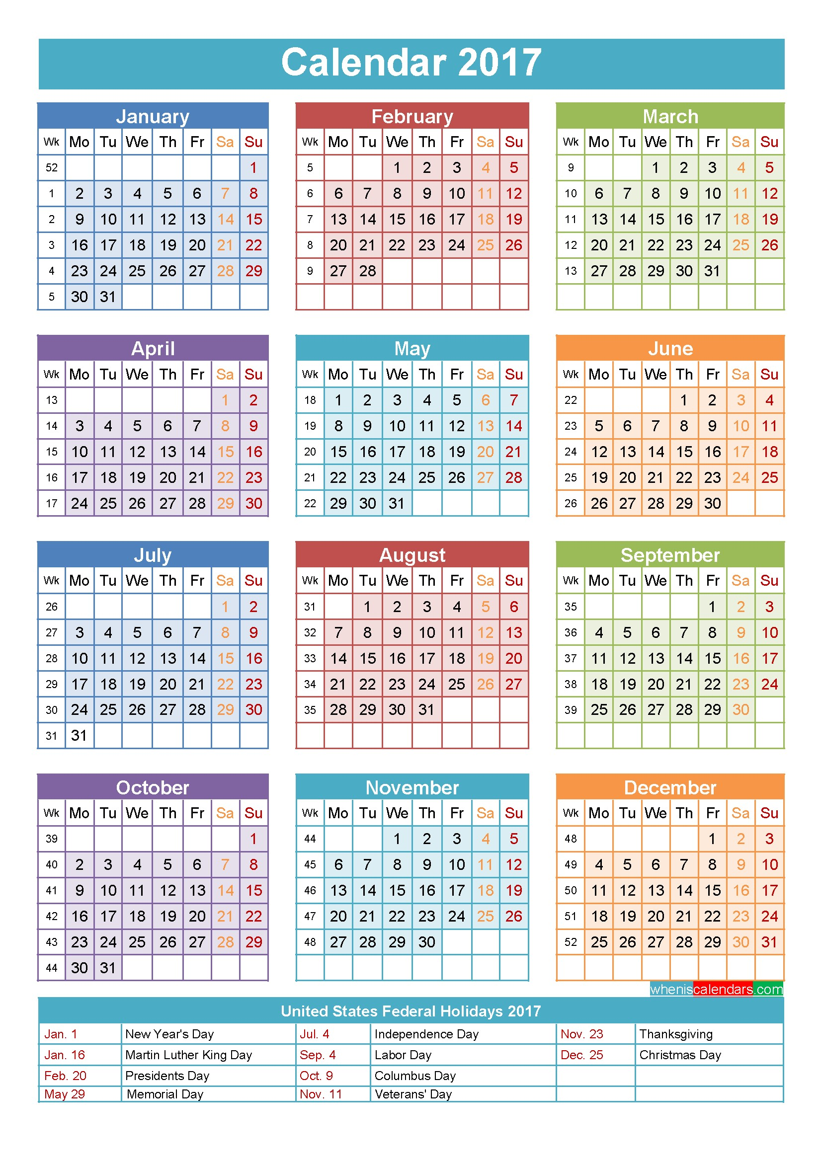 Yearly Printable Calendars 2017 Calendar with Holidays Printable Yearly Calendar