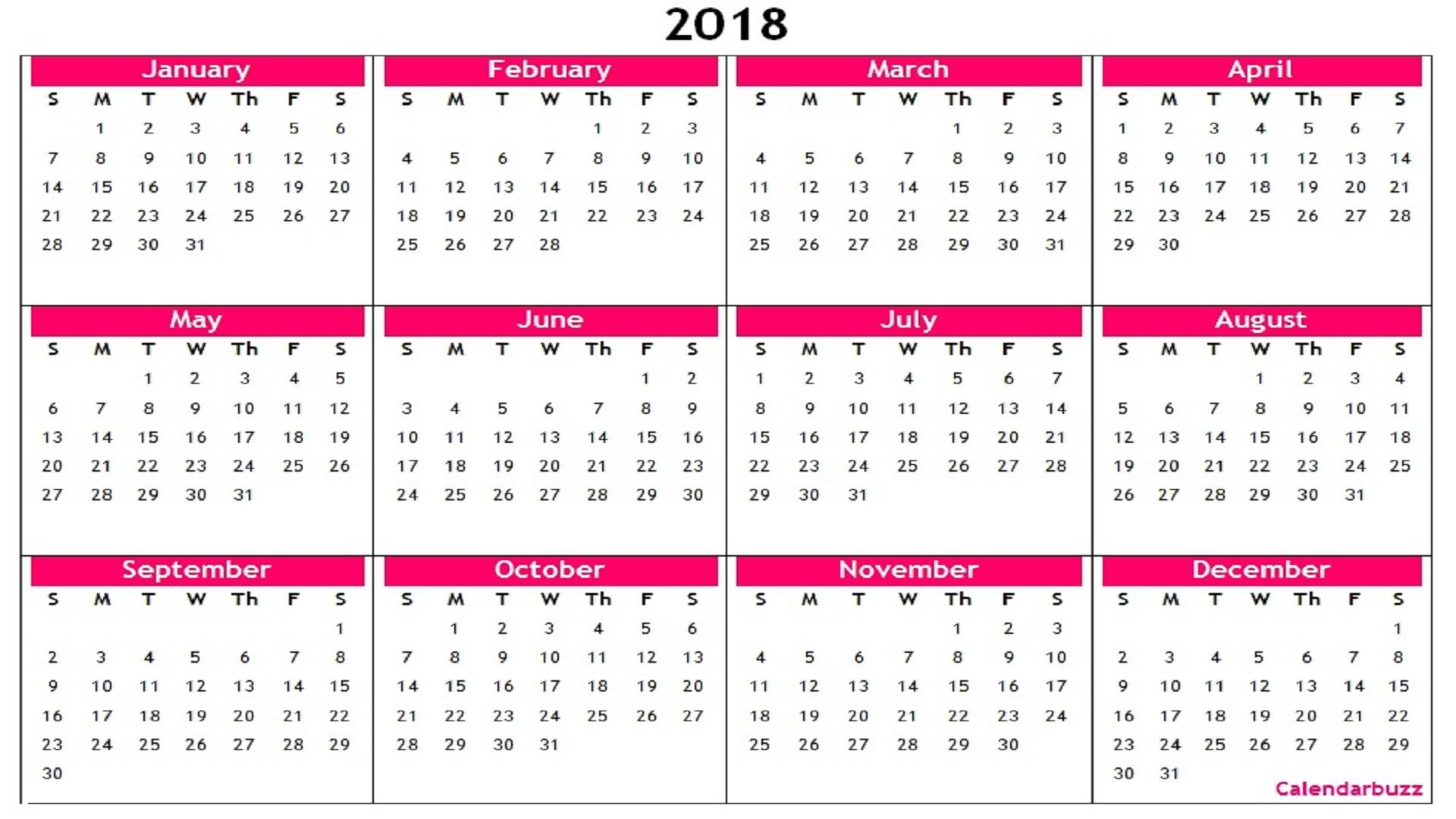 2018 Yearly Calendar Printable Templates Word Excel