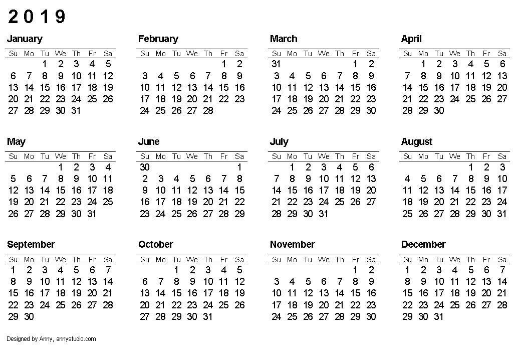 1 Year Calendar 2020 Printable 2019 Calendar E Page